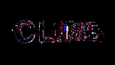 Letters are collected in text CLIMB, then scattered into strips. Bright colors Animation