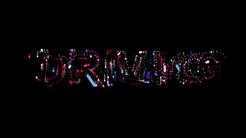 Letters are collected in text DRIVING, then scattered into strips. Bright Animation