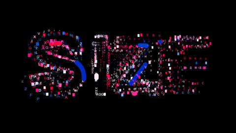 Letters are collected in text SIZE, then scattered into strips. Bright colors Animation