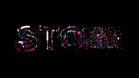 Letters are collected in text STORM, then scattered into strips. Bright colors Animation