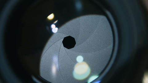 Camera prime lens. Close Up of opening camera aperture Footage