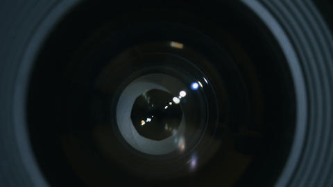 Camera prime glass. Close Up of pulsing lens camera aperture Live Action