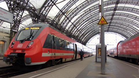 Dresden, Germany - December, 2017: Train Station. Trains parked at last stop Live Action
