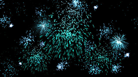 Fireworks display against the holiday night sky, celebration Animation