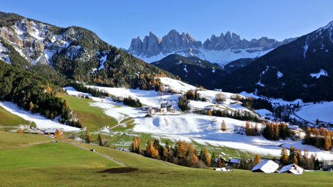 panoramic view of St. Maddalena village, Dolomites, Italy Bild