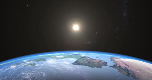 Photo-realistic sunrise over Earth Animation