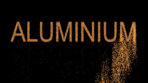 Element of periodic table ALUMINIUM appears from the sand, then crumbles. Alpha Animation