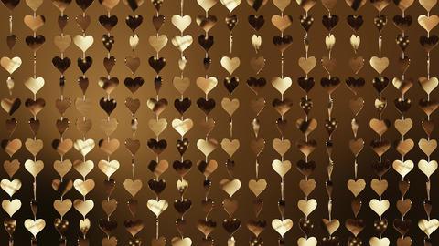 Animated background of golden hearts Image
