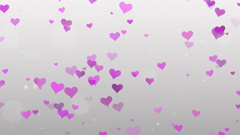 Pink Hearts on white background Stock Video Footage