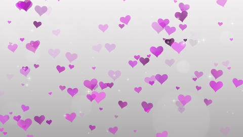 Pink Hearts on white background Animation