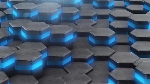 VJ looped background with animated neon hexagon Animation