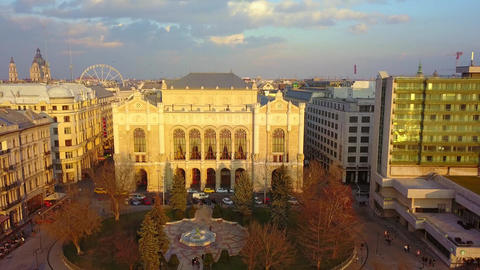 Budapest, Hungary - 01.06.2018: Aerial drone footage of Vigado Concert Hall Footage