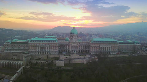 4K aerial drone footage of Buda Castle Royal Palace with beautiful sunset Footage