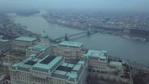 4K aerial drone footage of Buda Castle Royal Palace with Szechenyi Chain Bridge Footage