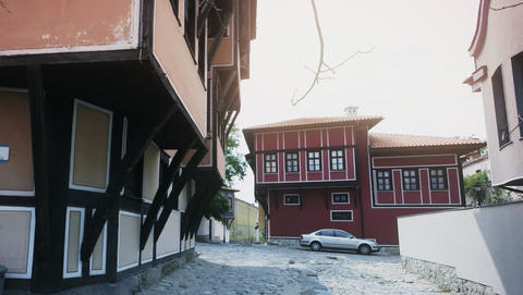 Cobblestone streets and Authentic Old Houses in Plovdiv, Bulgaria. European Footage