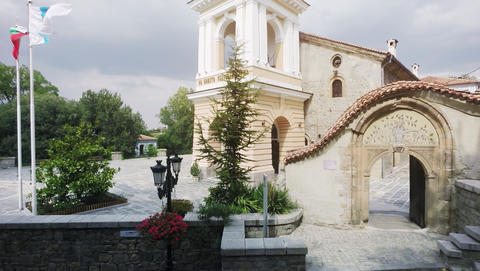 View of the Orthodox Church Virgin Mary and Cobblestone street in the old town Footage