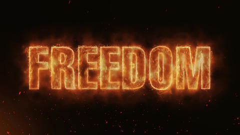 Freedom Word Hot Burning on Realistic Fire Flames continuous seamlessly loop Animation