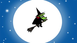 Witch flies past the Moon Animation