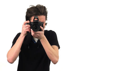 Photographer with camera, isolated on white background Footage