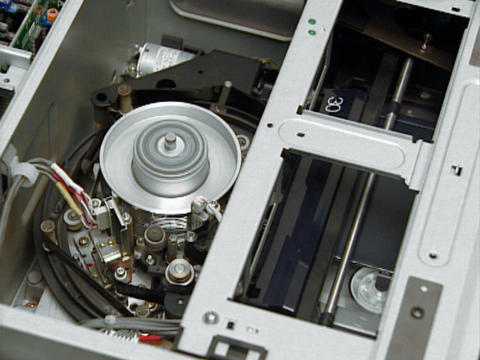 Video head inside in Professional tape recorder mechanism Footage