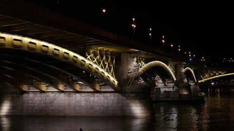 4K Margaret Bridge in Budapest Hungary at Night 1 Footage