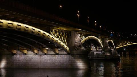 4K Margaret Bridge in Budapest Hungary at Night 1 Footage