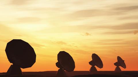 4K Radioantenna Observatory Dishes in the Sunset Sunrise 1 Animation