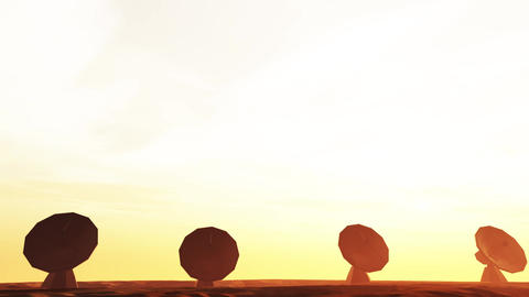 4K Radioantenna Observatory Dishes in the Sunset Sunrise 5 Animation