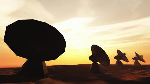 4K Radioantenna Observatory Dishes in the Sunset Sunrise 7 Animation