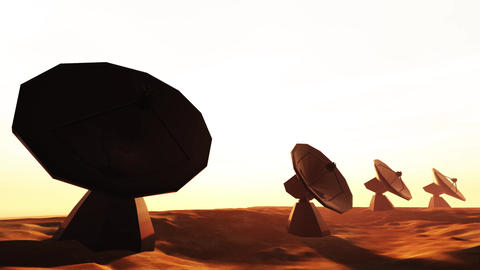 4K Radioantenna Observatory Dishes in the Sunset Sunrise 8 Animation