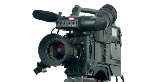 Professional digital video camera, isolated on white background Footage