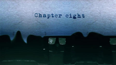 chapter eight Word Typing Sound Centered on Sheet of paper on old Typewriter Animation