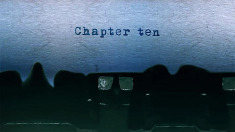 chapter ten Word Typing Sound Centered on Sheet of paper on old Typewriter Animation