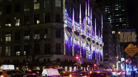 New York City, USA Saks Department Store Christmas window showcase Image