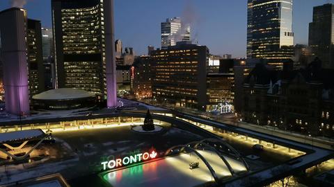 Toronto, Canada Nathan Philips Square ice skating Filmmaterial