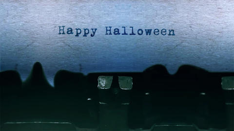 Happy Halloween Word Typing Sound Centered on Sheet of paper on old Typewriter Animation