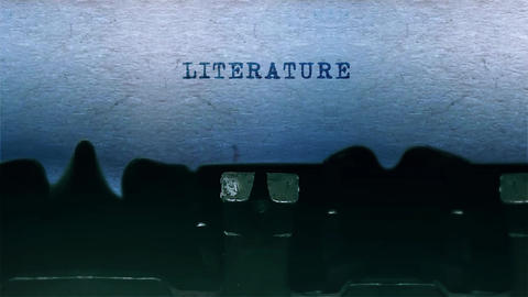 literature Word Typing Sound Centered on Sheet of paper on old Typewriter Animation