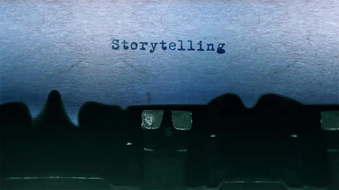 Storytelling Word Typing Sound Centered on Sheet of paper on old Typewriter Animation