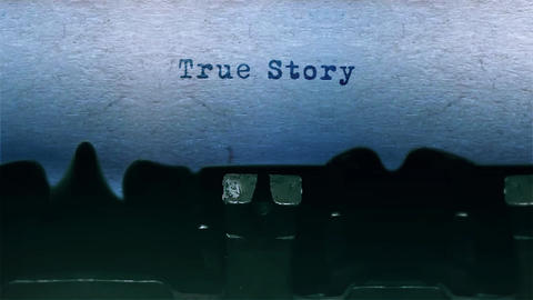 true story Word Typing Sound Centered on Sheet of paper on old Typewriter Animation