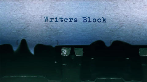 Writers Block Word Typing Sound Centered on Sheet of paper on old Typewriter Animation
