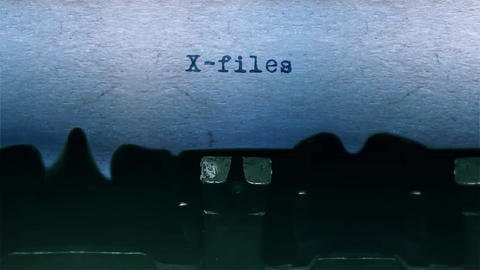 X-files Word Typing Sound Centered on Sheet of paper on old Typewriter Animation