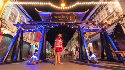 Entrance Gate at Famous Sunday Night Market in Phuket Town. Tourists and Local Footage