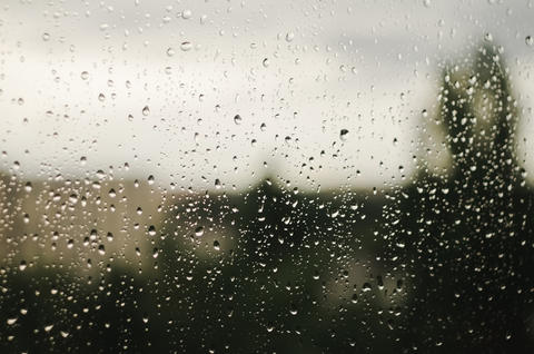 Raindrops on window with blurry trees as background. Rainy season Photo