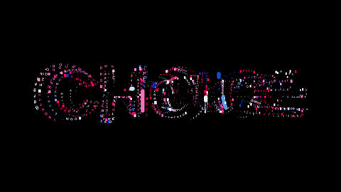 Letters are collected in text CHOICE, then scattered into strips. Bright colors Animation