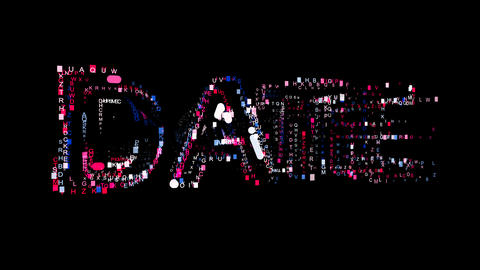 Letters are collected in text DATE, then scattered into strips. Bright colors Animation