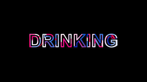 Letters are collected in text DRINKING, then scattered into strips. Bright Animation