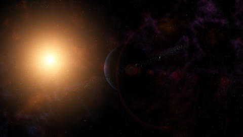 Blue planet with ring system of ice particles and rocks orbiting nearby star. Animation
