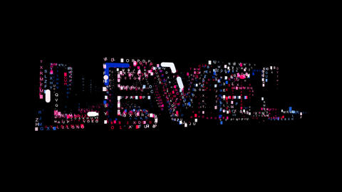 Letters are collected in text LEVEL, then scattered into strips. Bright colors Animation