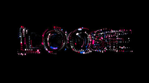 Letters are collected in text LOOSE, then scattered into strips. Bright colors CG動画