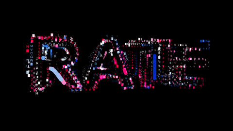 Letters are collected in text RATE, then scattered into strips. Bright colors Animation